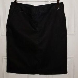Apostrophe Black Cotton Knee Length Skirt
